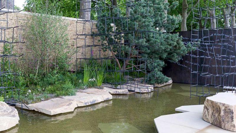 zdjęcia fragmentu ogrodu - oczko wodne