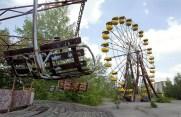 A ferris wheel and a carousel are abando