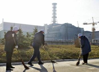 Worker sweep radio-active dust in front