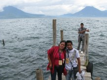 Herbert from San Pedro with two new friends at Lake Atitlan.