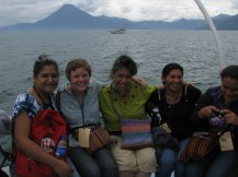 Maria Elena, Laurel, Mercedes, Heriberta, and Betty on a boat ride on Lake Atitlan. It was Heriberta's first time on a boat!