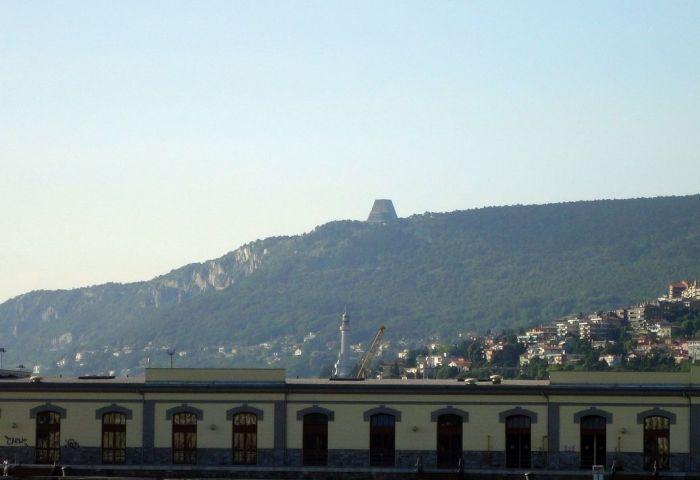 The church seen from Trieste. Santuario Nazionale a Maria Madre e Regina (Tempio di Monte Grisa). Trieste, Italy