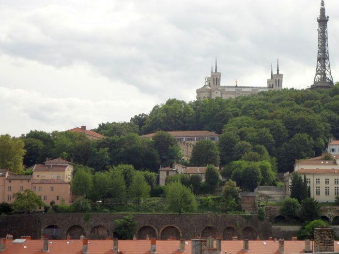 View of Fourvière from Jardin des Chartreux. Lyon, France