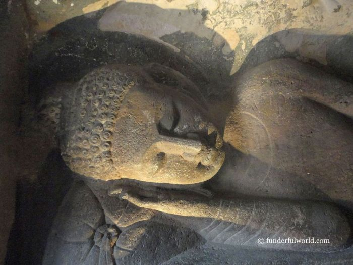 The reclining Buddha. Cave 26, Ajanta Caves, India.