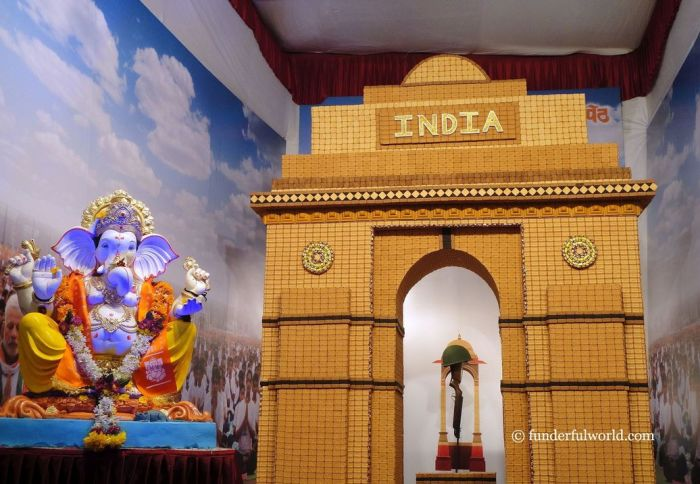A salute to the bravehearts. India Gate made from biscuits. Ganesh Chaturthi, Pune, Maharashtra, India.