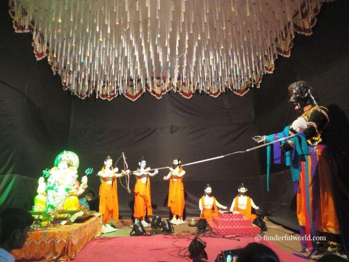Stories from the Ramayana: Encounter with Taataka. Ganesh Chaturthi, Pune, Maharashtra, India.