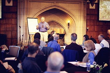 Marc Pitman Fundraising Coach giving a series of lectures at the castle at Glen Eyrie. Photo by Katie Davenport
