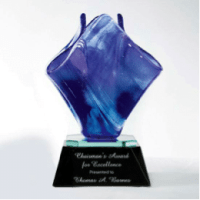 Image of This free-flowing award  has cobalt blue-toned veining and rests on an ebony optical glass base with a mirrored reflector. Each piece is  hand made and signed by the artist.