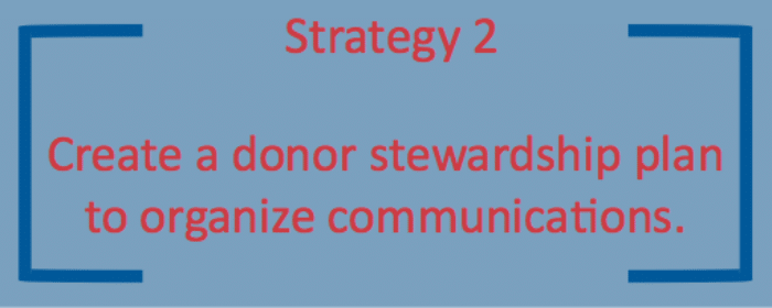 The 2nd donor stewardship strategy is to create a plan and organize communications.
