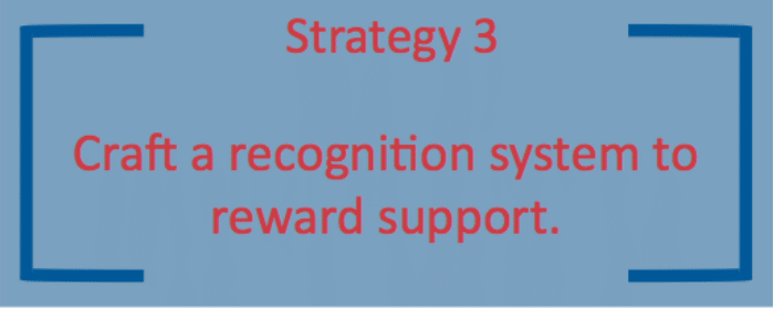 The 3rd strategy is to craft a recognition program to reward supporters.