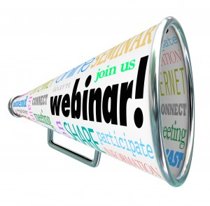 A bullhorn or megaphone with the word Webinar to spread the word of a new webcast, online seminar or internet training education session for you to register for and attend to learn new information