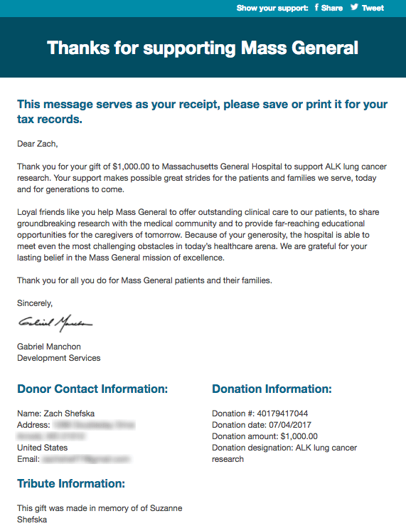 Sample Acknowledgement Letter For Donation In Memory