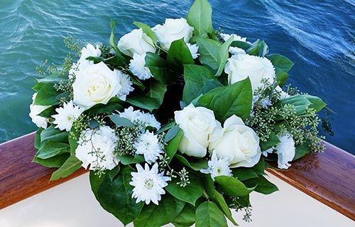 Wreath of White Roses for Scattering at Sea