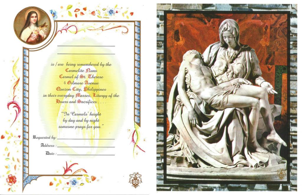 Pieta Mass Card Online