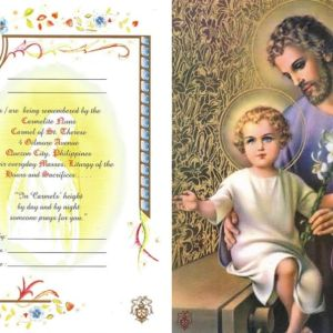 joseph with baby jesus mass card online