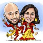Digital couple caricature