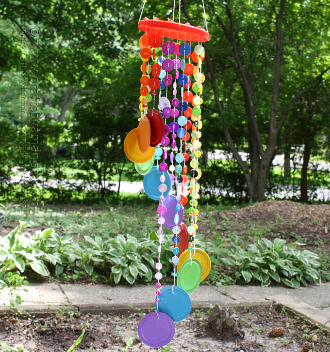 Rainbow Button Wind Chime Fun Family Crafts