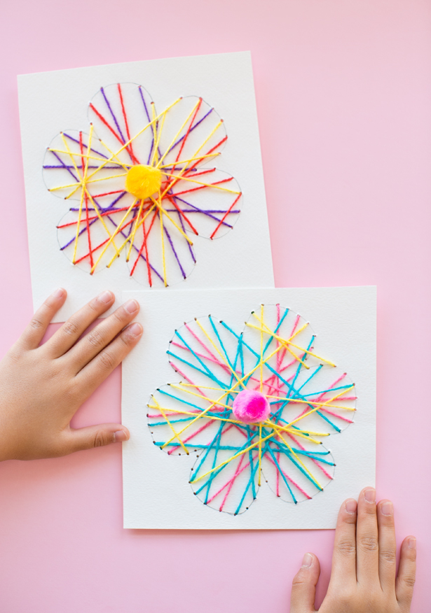 String Art Flower Cards Fun Family Crafts