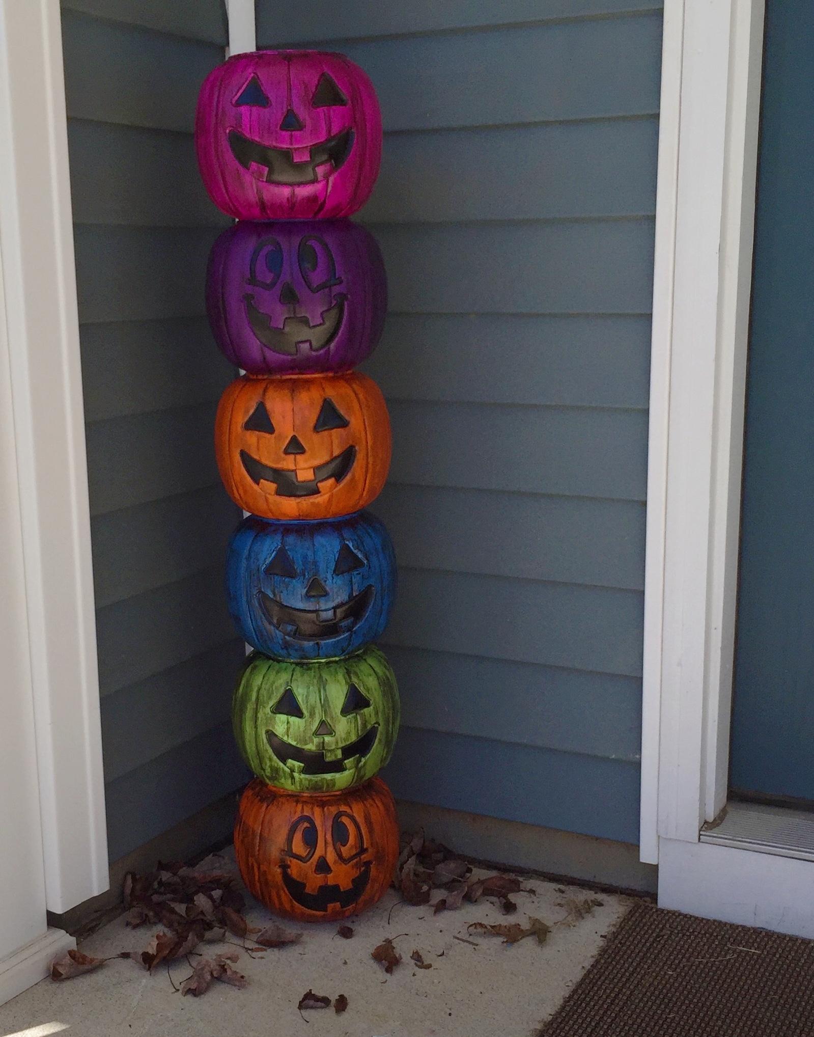 Weathered Plastic Pumpkin Totem Pole