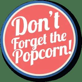 Round button banner for Popcorn Machine Rentals