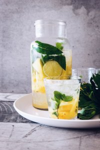 fresh mint and lemon infused water great for your body to detox