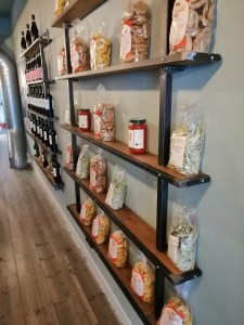 wall with products