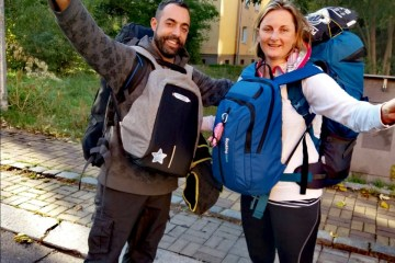 Two people with backpacks