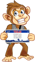 Togo (fun fotos to go mascot) with Texas License Plate