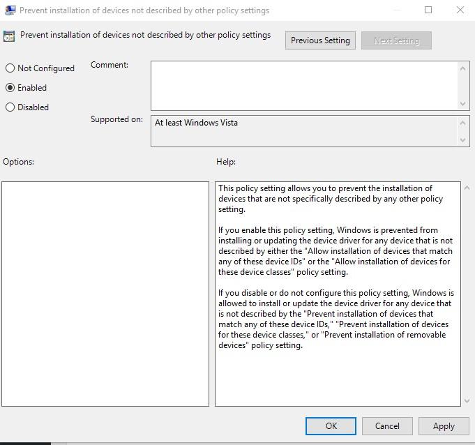 enable option