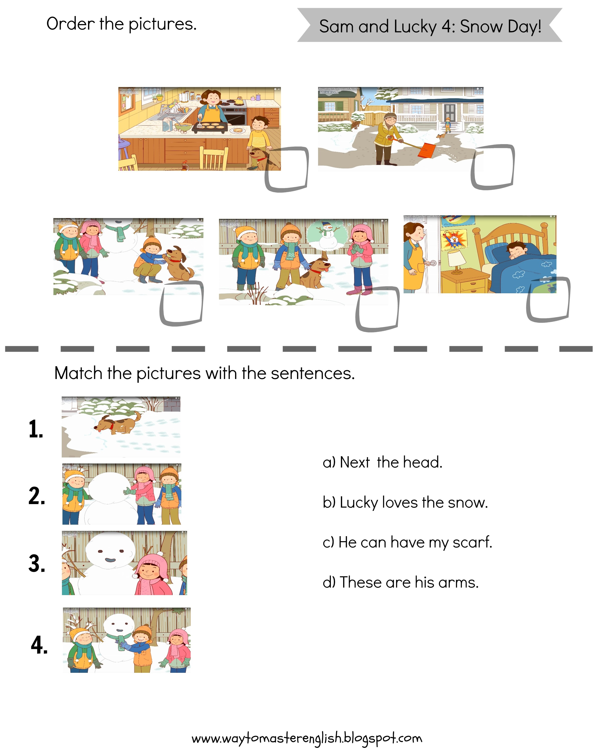 Sam And Lucky Snow Day Worksheets Funglish