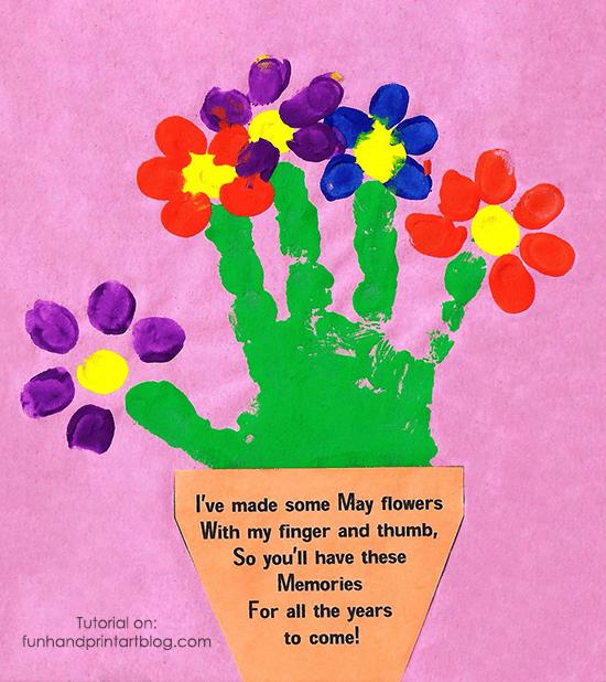 Handprint And Fingerprint Flowerpot With Poem For Mothers