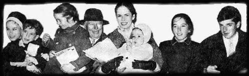 The Chaplin Family - Charlie and Oona with six of their children