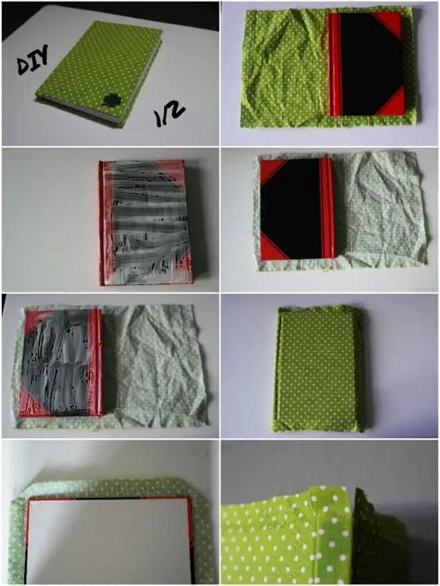 kalender und notizb cher mit stoffresten beziehen. Black Bedroom Furniture Sets. Home Design Ideas