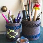 Filzige Stiftbecher mit Wolle besticken