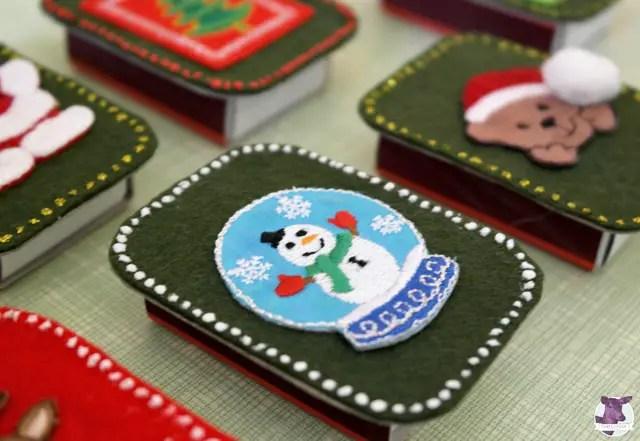 Bastelideen für Weihnachten - Streichholzschachteln bekleben