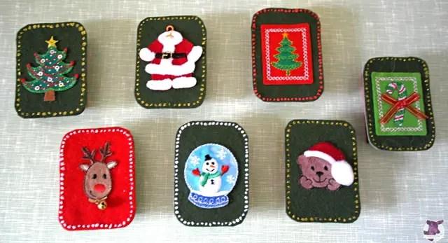 Einfache Bastelideen für Weihnachten - Streichholzschachteln bekleben