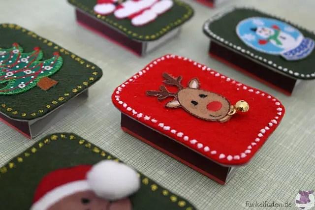 Streichholzschachteln für Weihnachten dekorieren - Anleitung