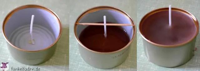 Kerzen selber giessen aus Kerzenresten und alten Dosen