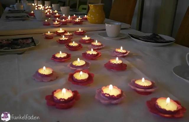 Tischdeko aus Filz mit Blumen für 75. Geburtstag