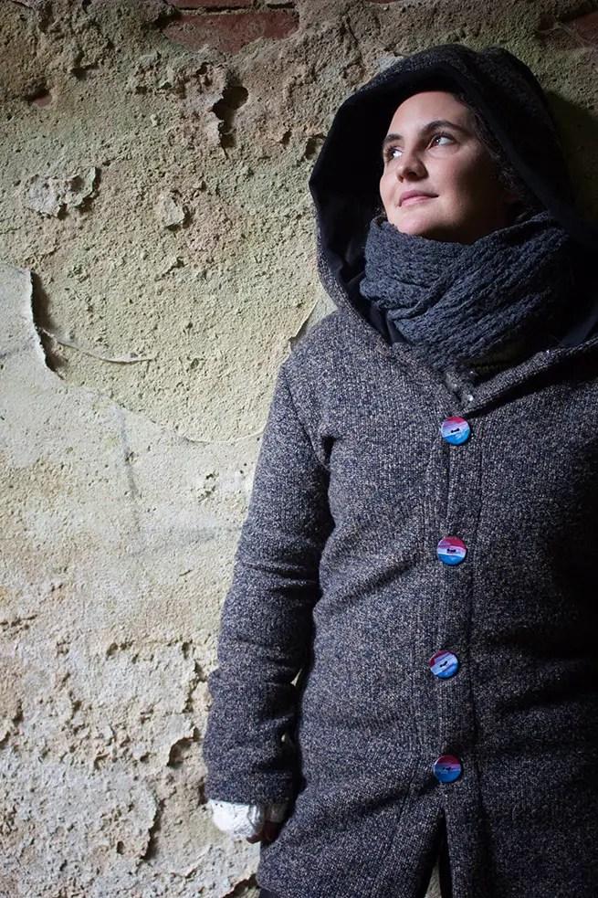 Strickjacke genäht - Fotos in Beelitz Heilstätten