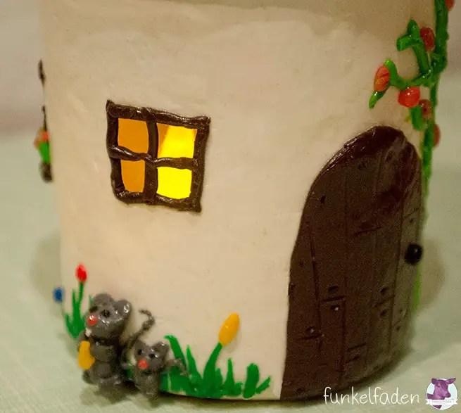 Pilzhaus mit Licht aus Fimo basteln