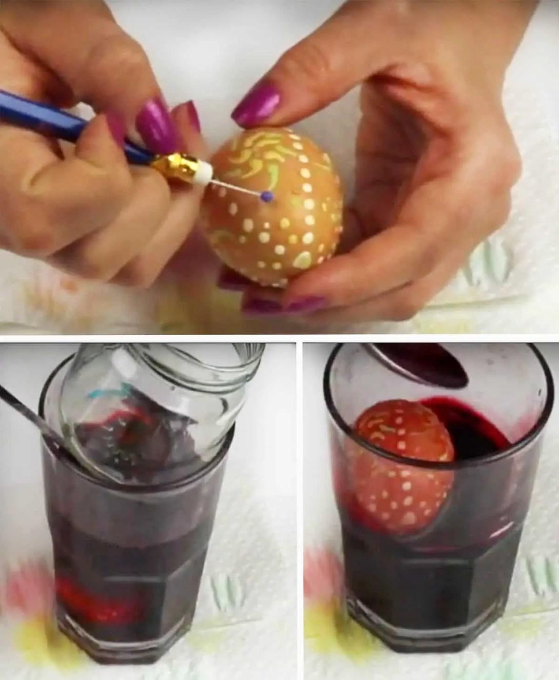 Ostereier mit Wachstechnik färben
