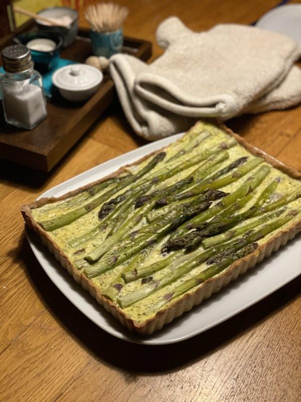 LowFat-Quiche mit grünen Spargel