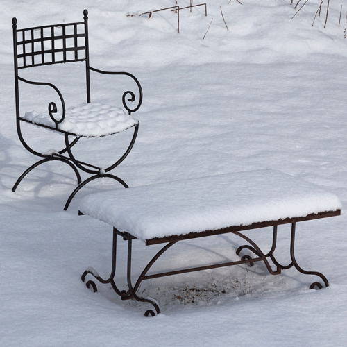 Trädgårdens hostor vilar under vintertäcket