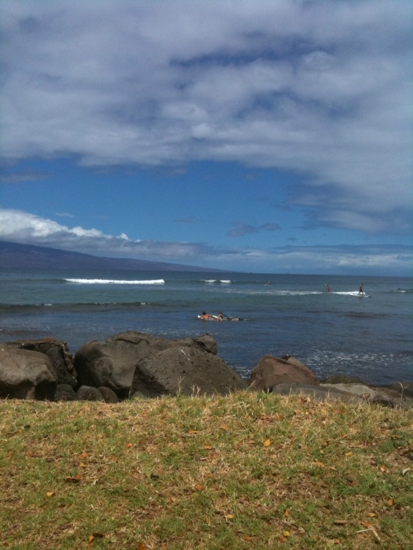 Learning to surf for the first time in Maui.