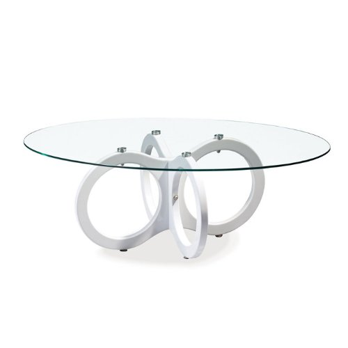Clear Occasional Coffee Table with High Gloss White Legs