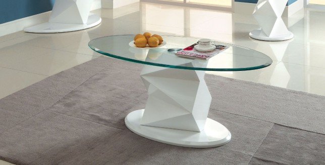 Furniture of America Talina Pedestal Base Coffee Table with 8mm Tempered Glass Top