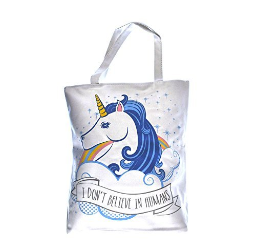 """""""I don't believe in humans"""" unicorn shopping bag"""