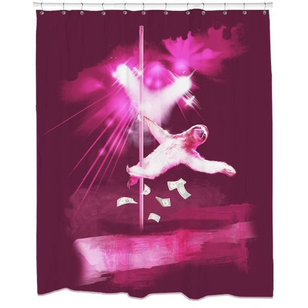 Stripper Sloth shower curtain - white elephant gifts