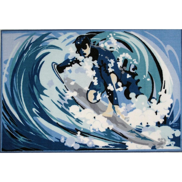 Surfing Area Rug with Waves